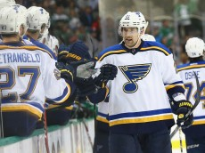 DALLAS, TX - APRIL 03:  Patrik Berglund #21 of the St. Louis Blues celebrates a goal against the Dallas Stars in the first period at American Airlines Center on April 3, 2015 in Dallas, Texas.  (Photo by Ronald Martinez/Getty Images)
