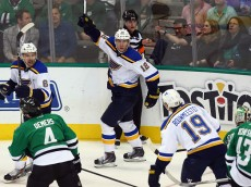 DALLAS, TX - APRIL 03:  Jori Lehtera #12 of the St. Louis Blues celebrates a goal against the Dallas Stars in the third period at American Airlines Center on April 3, 2015 in Dallas, Texas.  (Photo by Ronald Martinez/Getty Images)