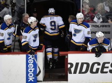 ST PAUL, MN - APRIL 20:  Steve Ott #9 of the St. Louis Blues leaves the game after a game misconduct penalty as teammate Jay Bouwmeester #19, Kevin Shattenkirk #22, Dmitrij Jaskin #23 and Vladimir Tarasenko #91 look on during the third period in Game Three of the Western Conference Quarterfinals against the Minnesota Wild during the 2015 NHL Stanley Cup Playoffs on April 20, 2015 at Xcel Energy Center in St Paul, Minnesota. The Wild defeated the Blues 3-0. (Photo by Hannah Foslien/Getty Images)