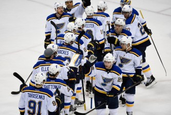 ST PAUL, MN - APRIL 22: The St. Louis Blues celebrate a win against the Minnesota Wild in Game Four of the Western Conference Quarterfinals during the 2015 NHL Stanley Cup Playoffs on April 22, 2015 at Xcel Energy Center in St Paul, Minnesota. (Photo by Hannah Foslien/Getty Images)