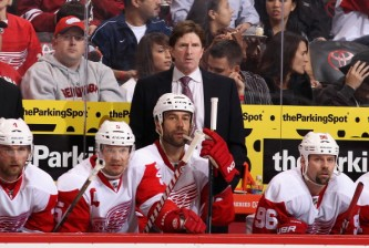 GLENDALE, AZ - FEBRUARY 06:  Head coach Mike Babcock of the Detroit Red Wings watches from the bench during the NHL game against the Phoenix Coyotes at Jobing.com Arena on February 6, 2012 in Glendale, Arizona. The Coyotes defeated the Red Wings 3-1.  (Photo by Christian Petersen/Getty Images)