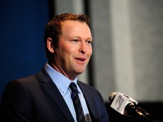 ST. LOUIS, MO - JANUARY 29: Martin Brodeur of the St. Louis Blues talks with the media at a press conference to announce his retirement at Scottrade Center on January 29, 2015 in St. Louis, Missouri. (Photo by Jeff Curry/Getty Images)