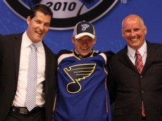 LOS ANGELES, CA - JUNE 25:  Vladimir Tarasenko, drafted 16th overall by the St. Louis Blues, poses on stage with team personnel during the 2010 NHL Entry Draft at Staples Center on June 25, 2010 in Los Angeles, California.  (Photo by Bruce Bennett/Getty Images)