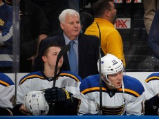 UNIONDALE, NY - DECEMBER 06: Heach coach Ken Hitchcock of the St. Louis Blues handles bench duties against the New York Islanders at the Nassau Veterans Memorial Coliseum on December 6, 2014 in Uniondale, New York. The Blues defeated the Islanders 6-4.  (Photo by Bruce Bennett/Getty Images)