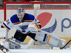 DENVER, CO - DECEMBER 13:  Goalie Jake Allen #34 of the St. Louis Blues makes a save on a shot by the Colorado Avalanche at Pepsi Center on December 13, 2014 in Denver, Colorado.  (Photo by Doug Pensinger/Getty Images)