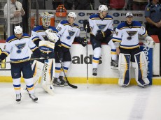ST PAUL, MN - APRIL 26: (L-R) Ryan Reaves #75, Brian Elliott #1, Jori Lehtera #12, Carl Gunnarsson #4 and Jake Allen #34 of the St. Louis Blues look on after a loss to the Minnesota Wild of Game Six of the Western Conference Quarterfinals during the 2015 NHL Stanley Cup Playoffs on April 26, 2015 at Xcel Energy Center in St Paul, Minnesota. The Wild defeated the Blues 4-1 and took the series 4-2. (Photo by Hannah Foslien/Getty Images)