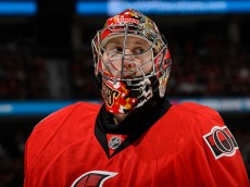 OTTAWA, ON - APRIL 26:  Craig Anderson #41 of the Ottawa Senators looks on in Game Six of the Eastern Conference Quarterfinals against the Montreal Canadiens during the 2015 NHL Stanley Cup Playoffs at Canadian Tire Centre on April 26, 2015 in Ottawa, Ontario, Canada. The Montreal Canadiens eliminated the Ottawa Senators by defeating them 2-0 and move to the next round of the Stanley Cup Playoffs. (Photo by Minas Panagiotakis/Getty Images)