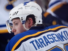 GLENDALE, AZ - JANUARY 06:  Vladimir Tarasenko #91 of the St. Louis Blues during the NHL game against the Arizona Coyotes at Gila River Arena on January 6, 2015 in Glendale, Arizona. The Blues defeated the Coyotes 6-0.  (Photo by Christian Petersen/Getty Images)