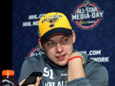 COLUMBUS, OH - JANUARY 23:  Vladimir Tarasenko #91 of the St. Louis Blues speaks during Media Day for the 2015 NHL All-Star Game at Columbus Convention Center on January 23, 2015 in Columbus, Ohio.  (Photo by Bruce Bennett/Getty Images)