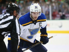 DALLAS, TX - APRIL 03:  David Backes #42 of the St. Louis Blues in the second period at American Airlines Center on April 3, 2015 in Dallas, Texas.  (Photo by Ronald Martinez/Getty Images)