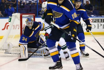 ST. LOUIS, MO - APRIL 18: Jake Allen #34 of the St. Louis Blues looks to make a save against the Minnesota Wild during Game Two of the Western Conference Quarterfinals during the 2015 NHL Stanley Cup Playoffs at the Scottrade Center on April 18, 2015 in St. Louis, Missouri.  (Photo by Dilip Vishwanat/Getty Images)