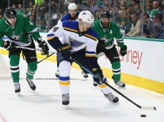 DALLAS, TX - APRIL 03:  Carl Gunnarsson #4 of the St. Louis Blues at American Airlines Center on April 3, 2015 in Dallas, Texas.  (Photo by Ronald Martinez/Getty Images)