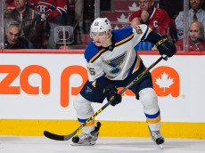 MONTREAL, QC - OCTOBER 20:  Colton Parayko #55 of the St. Louis Blues skates during the NHL game against the Montreal Canadiens at the Bell Centre on October 20, 2015 in Montreal, Quebec, Canada.  The Montreal Canadiens defeated the St. Louis Blues 3-0.  (Photo by Minas Panagiotakis/Getty Images)