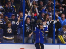ST. LOUIS, MO - APRIL 25: Alex Pietrangelo #27 of the St. Louis Blues celebrates after scoring the game-tying goal against the Chicago Blackhawks in Game Five of the First Round of the 2014 Stanley Cup Playoffs at the Scottrade Center on April 25, 2014 in St. Louis, Missouri.  (Photo by Dilip Vishwanat/Getty Images)