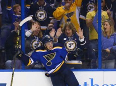 ST. LOUIS, MO - OCTOBER 8: Robby Fabbri #15 of the St. Louis Blues celebrates after scoring his first career goal against the Edmonton Oilers at the Scottrade Center on October 8, 2015 in St. Louis, Missouri.  (Photo by Dilip Vishwanat/Getty Images)