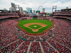 ST. LOUIS, MO - APRIL 13: A general view of Busch Stadium during third inning of a game between the Milwaukee Brewers and the St. Louis Cardinals on April 13, 2015 in St. Louis, Missouri.  (Photo by Jeff Curry/Getty Images)