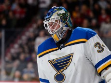 MONTREAL, QC - OCTOBER 20:  Jake Allen #34 of the St. Louis Blues looks on during the NHL game against the Montreal Canadiens at the Bell Centre on October 20, 2015 in Montreal, Quebec, Canada.  The Montreal Canadiens defeated the St. Louis Blues 3-0.  (Photo by Minas Panagiotakis/Getty Images)