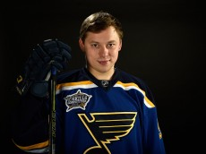NASHVILLE, TN - JANUARY 30:  Vladimir Tarasenko #91 of the St. Louis Blues poses for a 2016 NHL All-Star portrait at Bridgestone Arena on January 30, 2016 in Nashville, Tennessee.  (Photo by Sanford Myers/Getty Images)