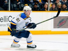 NASHVILLE, TENNESSEE - FEBRUARY 02:  Vladimir Tarasenko #91 of the St. Louis Blues skates against the Nashville Predators during the second period at Bridgestone Arena on February 2, 2016 in Nashville, Tennessee.  (Photo by Frederick Breedon/Getty Images)