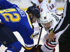ST. LOUIS, MO - APRIL 15: David Backes #42 of the St. Louis Blues lines up for a face off against Marcus Kruger #22 of the Chicago Blackhawks in Game Two of the Western Conference Quarterfinals during the 2016 NHL Stanley Cup Playoffs at the Scottrade Center on April 15, 2016 in St. Louis, Missouri.  The Blues beat the Blackhawks 1-0 in overtime.  (Photo by Dilip Vishwanat/ Getty Images)