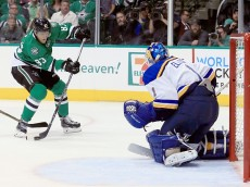 DALLAS, TX - APRIL 29:  Ales Hemsky #83 of the Dallas Stars shoot the puck against Brian Elliott #1 of the St. Louis Blues in the first period in Game One of the Western Conference Second Round during the 2016 NHL Stanley Cup Playoffs at American Airlines Center on April 29, 2016 in Dallas, Texas.  (Photo by Tom Pennington/Getty Images)