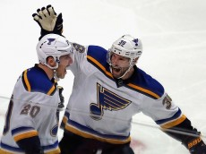 CHICAGO, IL - APRIL 19: Troy Brouwer #36 and Alexander Steen #20 of the St. Louis Blues celebrate Steen's third period goal against the Chicago Blackhawks in Game Four of the Western Conference First Round during the 2016 NHL Stanley Cup Playoffs at the United Center on April 19, 2016 in Chicago, Illinois. The Blues defeated the Blackhawks 4-3. (Photo by Jonathan Daniel/Getty Images)