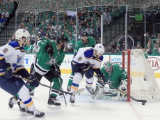 DALLAS, TX - APRIL 29:  Steve Ott #9 of the St. Louis Blues shoots the puck against Kari Lehtonen #32 of the Dallas Stars in the second period in Game One of the Western Conference Second Round during the 2016 NHL Stanley Cup Playoffs at American Airlines Center on April 29, 2016 in Dallas, Texas.  (Photo by Tom Pennington/Getty Images)