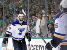 DALLAS, TX - MAY 07:  Troy Brouwer #36 of the St. Louis Blues celebrates with Robby Fabbri #15 of the St. Louis Blues after scoring a goal against Kari Lehtonen #32 of the Dallas Stars in the second period in Game Five of the Western Conference Second Round during the 2016 NHL Stanley Cup Playoffs at American Airlines Center on May 7, 2016 in Dallas, Texas.  (Photo by Tom Pennington/Getty Images)