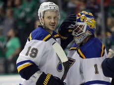 DALLAS, TX - MAY 11:  Jay Bouwmeester #19 celebrates with Brian Elliott #1 after a 6-1 win against the Dallas Stars in Game Seven of the Western Conference Second Round during the 2016 NHL Stanley Cup Playoffs at American Airlines Center on May 11, 2016 in Dallas, Texas.  (Photo by Ronald Martinez/Getty Images)