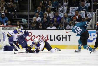 in game three of the Western Conference Finals during the 2016 NHL Stanley Cup Playoffs at SAP Center on May 19, 2016 in San Jose, California.