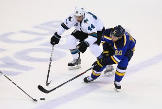 in Game Five of the Western Conference Final during the 2016 NHL Stanley Cup Playoffs at Scottrade Center on May 23, 2016 in St Louis, Missouri.