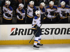 SAN JOSE, CA - MAY 25:  Vladimir Tarasenko #91 of the St. Louis Blues celebrates with teammates after scoring his second goal against the San Jose Sharks in Game Six of the Western Conference Final during the 2016 NHL Stanley Cup Playoffs at SAP Center on May 25, 2016 in San Jose, California.  (Photo by Thearon W. Henderson/Getty Images)
