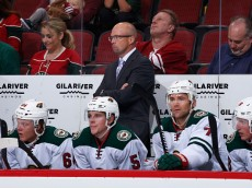 GLENDALE, AZ - OCTOBER 15:  Head coach Mike Yeo of the Minnesota Wild on the bench during the NHL game against the Arizona Coyotes at Gila River Arena on October 15, 2015 in Glendale, Arizona.  (Photo by Christian Petersen/Getty Images)
