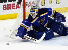 ST LOUIS, MO - MAY 17:  Brian Elliott #1 of the St. Louis Blues makes a save in Game Two of the Western Conference Final against the San Jose Sharks during the 2016 NHL Stanley Cup Playoffs at Scottrade Center on May 17, 2016 in St Louis, Missouri.  (Photo by Jamie Squire/Getty Images)