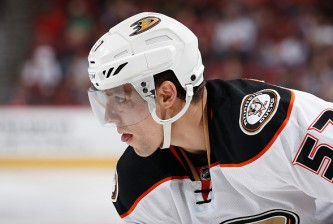 GLENDALE, AZ - MARCH 03:  David Perron #57 of the Anaheim Ducks during the NHL game against the Arizona Coyotes at Gila River Arena on March 3, 2016 in Glendale, Arizona. The Ducks defeated the Coyotes 5-1.  (Photo by Christian Petersen/Getty Images)