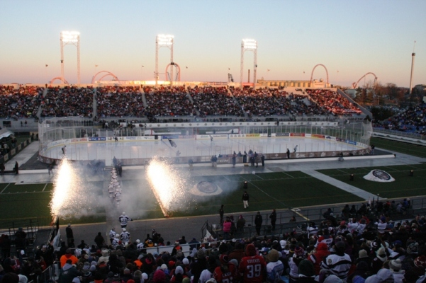 The Hershey Bears take to the ice at the 2013 Capital Blue Cross AHL Outdoor Classic.