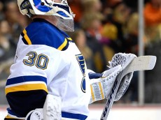 ANAHEIM, CA - JANUARY 02:  Martin Brodeur #30 of the St. Louis Blues reacts looks up to the scoreboard after an Anaheim Ducks goal during the third period at Honda Center on January 2, 2015 in Anaheim, California.  The Ducks won 4-3.  (Photo by Harry How/Getty Images)