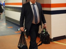 UNIONDALE, NY - FEBRUARY 12: Dave Nonis,  Senior Vice President & General Manager of the Toronto Maple Leafs arrives for the ganme against the New York Islanders at the Nassau Veterans Memorial Coliseum on February 12, 2015 in Uniondale, New York.  (Photo by Bruce Bennett/Getty Images)