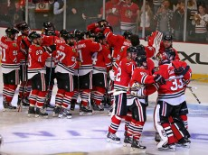CHICAGO, IL - APRIL 21:  Members of the Chicago Blackhawks celebrate a triple overtime win against the Nashville Predators in Game Four of the Western Conference Quarterfinals during the 2015 NHL Stanley Cup Playoffs at the United Center on April 21, 2015 in Chicago, Illinois. The Blackhawks defeated the Predators 3-2 in the third overtime.  (Photo by Jonathan Daniel/Getty Images)