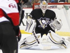 PITTSBURGH, PA - APRIL 13:  Jeff Zatkoff #37 of the Pittsburgh Penguins protects the net against the Ottawa Senators during the game at Consol Energy Center on April 13, 2014 in Pittsburgh, Pennsylvania.  (Photo by Justin K. Aller/Getty Images)