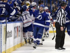 TAMPA, FL - MAY 6: Tyler Johnson #9 of the Tampa Bay Lightning celebrates his goal against the Montreal Canadiens in Game Three of the Eastern Conference Semifinals during the 2015 NHL Stanley Cup Playoffs at Amalie Arena on May 6, 2015 in Tampa, Florida. (Photo by Mike Carlson/Getty Images)