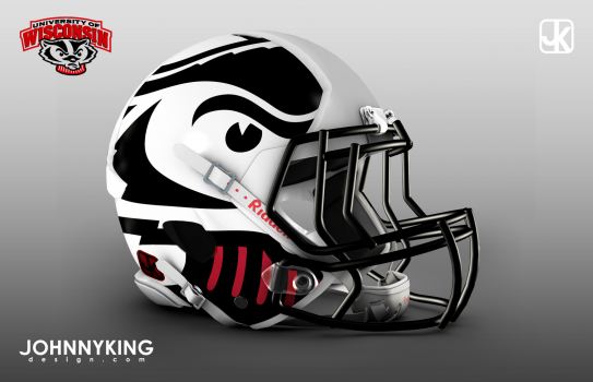 JohnnyKingDesign_Wisconsin_Badger_Football_Helmet_Concept_Matte