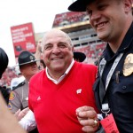 TAMPA, FL - JANUARY 1: Acting head coach Barry Alvarez of the Wisconsin Badgers smiles as he takes to the field following the Badger's 34-31 victory in overtime over the Auburn Tigers at the Outback Bowl on January 1, 2015 at Raymond James Stadium in Tampa, Florida.  (Photo by Brian Blanco/Getty Images)