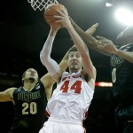 MADISON, WI - JANUARY 07: Frank Kaminsky #44 of the Wisconsin Badgers pull down a rebound during the first half against the Purdue Boilermakers at Kohl Center on January 07, 2015 in Madison, Wisconsin. (Photo by Mike McGinnis/Getty Images)  *** Local Caption *** Frank Kaminsky