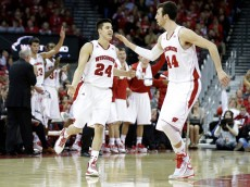 MADISON, WI - JANUARY 15: Bronson Koenig #24 of the Wisconsin Badgers celebrates after making a three pointer during the second half against the Nebraska Cornhuskers at Kohl Center on January 15, 2015 in Madison, Wisconsin. (Photo by Mike McGinnis/Getty Images)  *** Local Caption *** Bronson Koenig