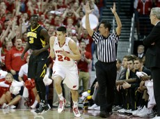MADISON, WI - JANUARY 20:  Bronson Koenig #44 of the Wisconsin Badgers runs up the court after making a three-pointer during the first half against the Iowa Hawkeyes at Kohl Center on January 20, 2015 in Madison, Wisconsin. (Photo by Mike McGinnis/Getty Images)