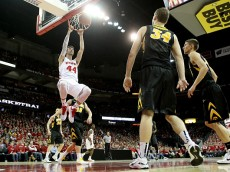 MADISON, WI - JANUARY 20: Frank Kaminsky #44 of the Wisconsin Badgers slam dunks during the second half against the Iowa Hawkeyes at Kohl Center on January 20, 2015 in Madison, Wisconsin. (Photo by Mike McGinnis/Getty Images)