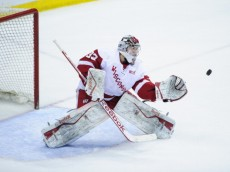 ST PAUL, MN - MARCH 21: Joel Rumpel #33 of the Wisconsin Badgers makes a glove side save during the semifinal game of the Big Ten Men's Ice Hockey Championship against the Penn State Nittany Lions on March 21, 2014 at Xcel Energy Center in St Paul, Minnesota. (Photo by Hannah Foslien/Getty Images)