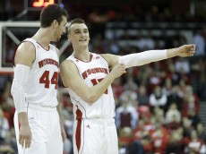 MADISON, WI - FEBRUARY 03:  Sam Dekker #15 of the Wisconsin Badgers talks to Frank Kaminsky #44 during the second half against the Indiana Hoosiers at Kohl Center on February 03, 2015 in Madison, Wisconsin. (Photo by Mike McGinnis/Getty Images)
