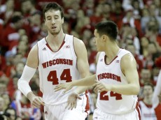 MADISON, WI - FEBRUARY 15: Frank Kaminsky #44 of the Wisconsin Badgers celebrates with Bronson Koenig #24 of the Illinois Fighting Illini at Kohl Center on February 15, 2015 in Madison, Wisconsin. (Photo by Mike McGinnis/Getty Images)
